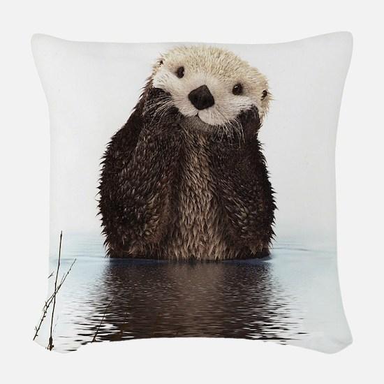 Bashful Sea Otter Woven Throw Pillow
