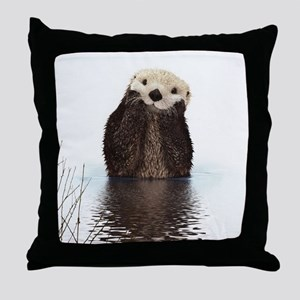 Bashful Sea Otter Throw Pillow