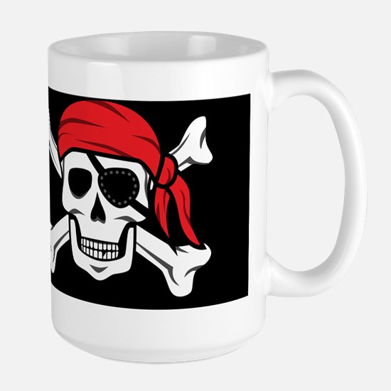 Jolly Roger Pirate (on Black) Mugs