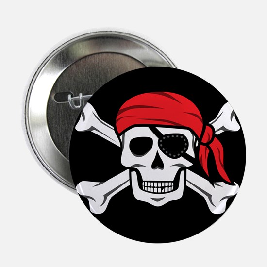 "Jolly Roger Pirate (on Black) 2.25"" Button"