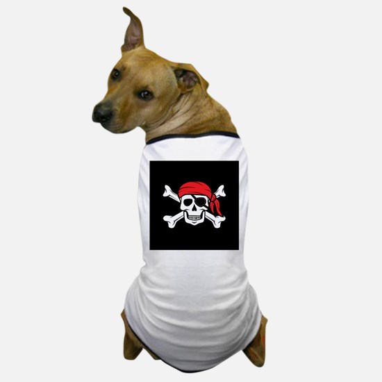 Jolly Roger Pirate (on Black) Dog T-Shirt