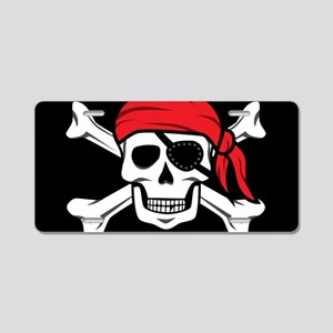 Jolly Roger Pirate (on Blac Aluminum License Plate