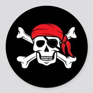 Jolly Roger Pirate (on Black) Round Car Magnet