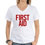 First Aid (red) Women's V-Neck T-Shirt