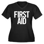 First Aid (white) Women's Plus Size V-Neck Dark T-
