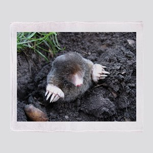 Adorable Mole in Dirt Throw Blanket
