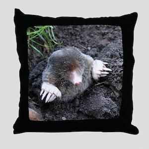 Adorable Mole in Dirt Throw Pillow