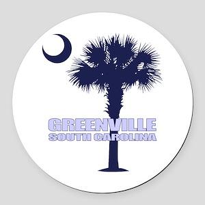 Greenville SC Round Car Magnet