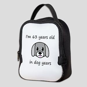 9 dog years 2 Neoprene Lunch Bag