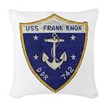 USS FRANK KNOX Woven Throw Pillow
