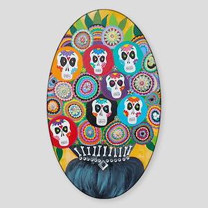flowers sugar skull Sticker (Oval)