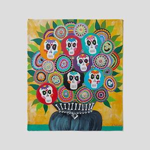 flowers sugar skull Throw Blanket