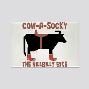 Cow A Socky Hillbilly Bike Rectangle Magnet