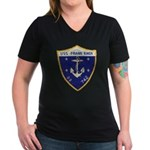 USS FRANK KNOX Women's V-Neck Dark T-Shirt