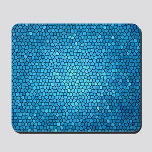 Pale blue  color stained glass pattern Mousepad