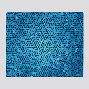 Pale blue  color stained glass patte Throw Blanket