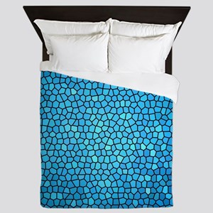 Pale blue  color stained glass pattern Queen Duvet