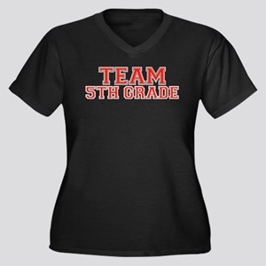 Team 5th Grade Women's Plus Size V-Neck Dark T-Shi