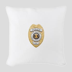 Police Badge Woven Throw Pillow