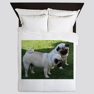 Two fawn Pugs Queen Duvet