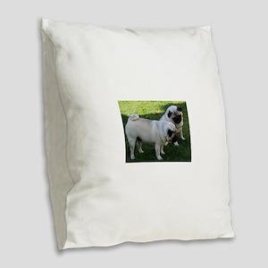 Two fawn Pugs Burlap Throw Pillow
