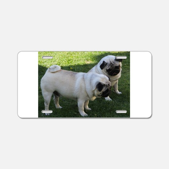 Two fawn Pugs Aluminum License Plate