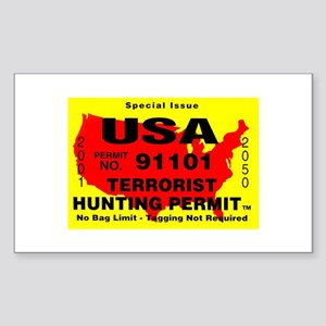 Terrorist Hunting Permit Sticker (Rectangle)