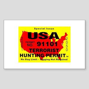 Terrorist Hunting Permit Sticker (Rectangle)