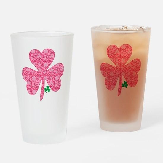 Pink Shamrocks Wee Green Drinking Glass