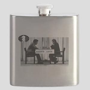 World Chess Champions Karpov Kasparov Master Flask