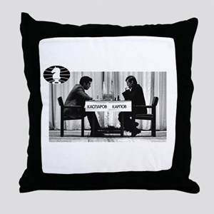 World Chess Champions Karpov Kasparov Throw Pillow