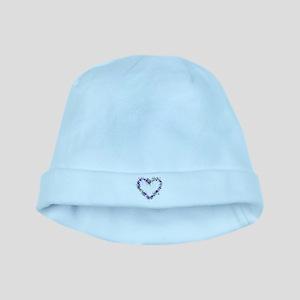 Purple Flower Heart baby hat
