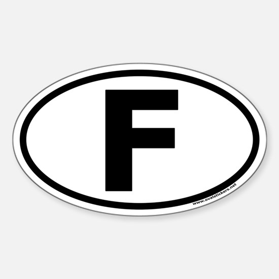 France Oval Euro Style Sticker with F in middle.