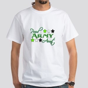 Army Star Aunt White T-Shirt