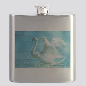 Swan Flapping Wings on Water Flask