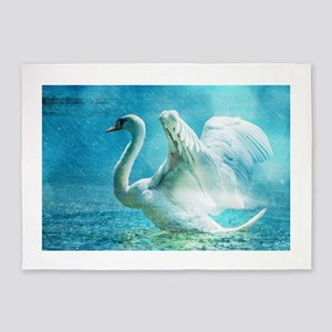 Swan Flapping Wings on Water 5'x7'Area Rug