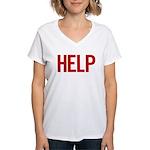 Help (red) Women's V-Neck T-Shirt