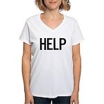 Help (black) Women's V-Neck T-Shirt