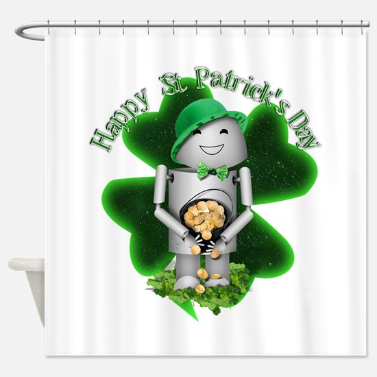 St Patrick's Day - Lucky Robo-x9 Shower Curtain