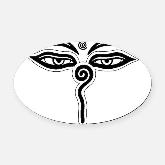 Buddha eyes tibet rebirth Symbol B Oval Car Magnet