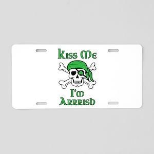 Irish Pirate - Kiss Me I'm Aluminum License Plate