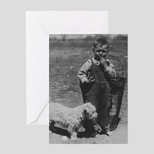 BABY BOY and DOG vintage photo print greeting card