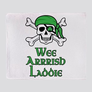 Irish Pirate - Wee Arrrish Laddie Throw Blanket