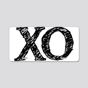 XO - black and white Aluminum License Plate