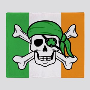Irish Jolly Roger - Pirate Flag Throw Blanket