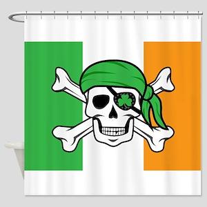 Irish Jolly Roger - Pirate Flag Shower Curtain