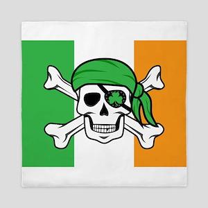 Irish Jolly Roger - Pirate Flag Queen Duvet