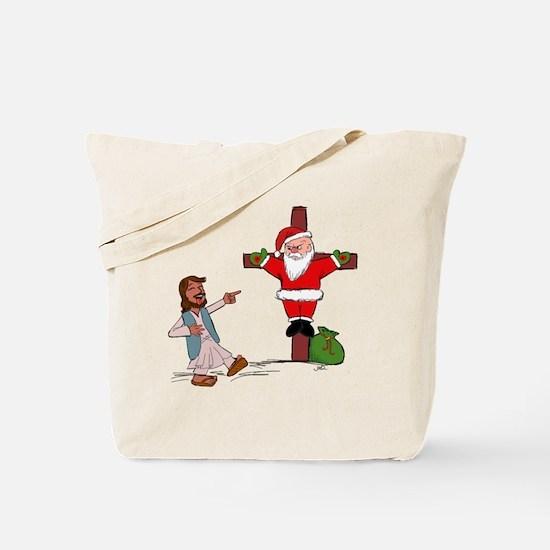 Jesus gets the last laugh on Santa. Tote Bag