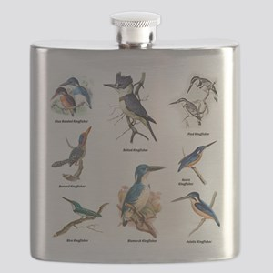 Birder Kingfisher Illustrations Flask