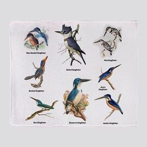 Birder Kingfisher Illustrations Throw Blanket